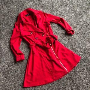 Akira Red Trench Coat Blazer Dress Size Medium